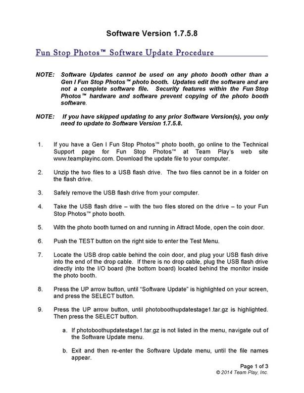 Digital photo booth manufacturer Team Play Inc - Photo Booth Software Update Manual - Update Procedure